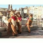 Adorable 4 Minnie Deer Customs Characters Waiting On Bridge Greeting Kids