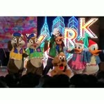 Disney Cartoon Characters On Stage After Show