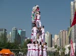 3碟2膊醒狮表演 133N (Human Mobile Stage 133N),醒狮功夫, Lion Dance Kung Fu. 中外周家On Stage, 飞越舞台.