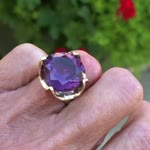 Huge synthetic color change sapphire ring