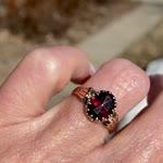 Victorian Rose Gold Rose Cut Garnet Ring