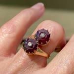 Vintage Diamond Garnet Bypass Engagement Ring