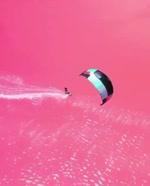 Pink lakes in Australia