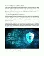 Importance Of Cyber Security In The Modern World