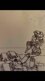 A robot crushing a car