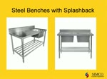 Stainless steel benches, sinks, shelves